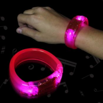 Pink Sound Activated LED Bangle Bracelet - 8 Inch