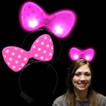 Pink Polka Dot LED Bow Headband - 12 Pack