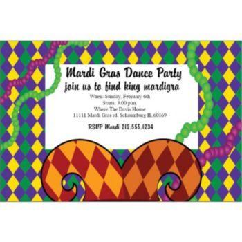 Mardi Gras Jester Personalized Invitations