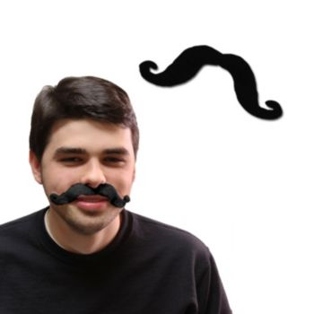 Black Handlebar Mustaches - 12 Pack