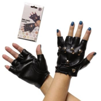 Black Fingerless  Studded  Gloves