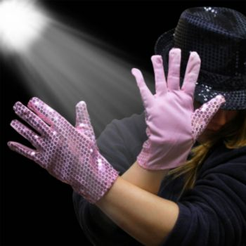 Pink Sequin Gloves