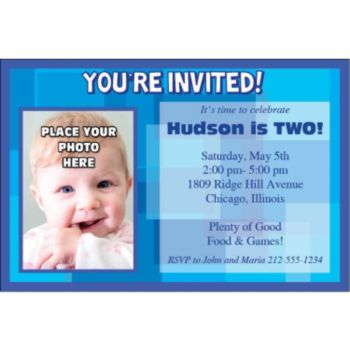Blue Photo Personalized Invitations