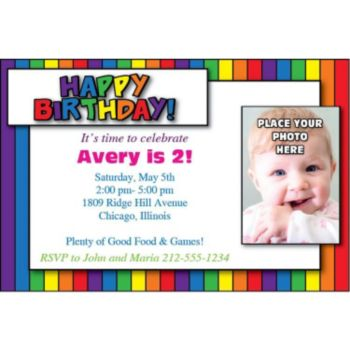 Rainbow Birthday Photo Personalized Invitations