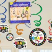Congrats Grad Swirl Decorations-12 Pack