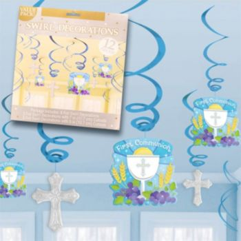 First Communion Blue  Swirls