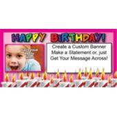 Birthday In Pink Custom Photo Banner