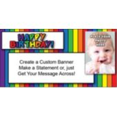 Rainbow Stripe Birthday Custom Photo Banner