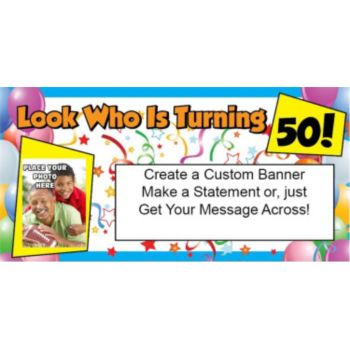 Look Who is 50 Custom Photo Banner