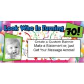Look Who Is 70 Custom Photo Banner