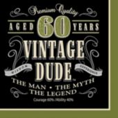 Vintage Dude 60 Lunch Napkins - 16 Pack