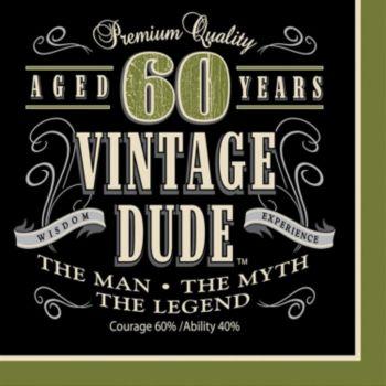 Vintage Dude  60 Lunch Napkins