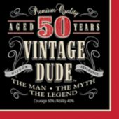 Vintage Dude 50 Lunch Napkins - 16 Pack