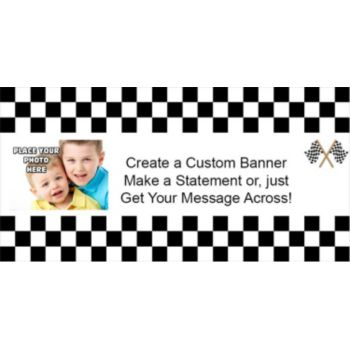 Raceway Checkered Custom Photo Banner
