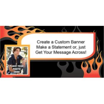 Biker Flames Custom Photo Banner