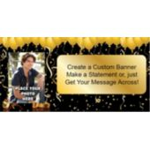 Gold Confetti Balloons Custom Photo Banner