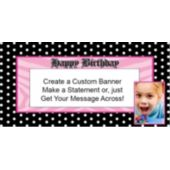 Pink Birthday Dots Custom Photo Banner