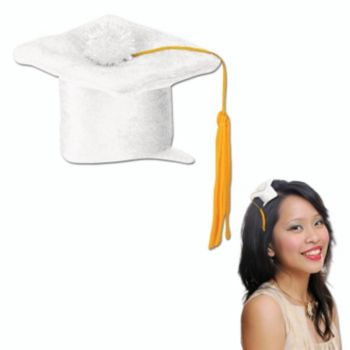 White Grad Cap  Fascinator Clip