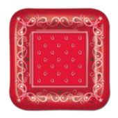 "Red Bandana 7"" Plates - 8 Pack"