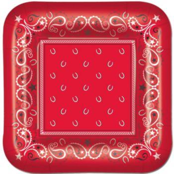"Red Bandana  9"" Plates"