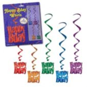 Happy Birthday Metallic Whirls-5 Pack