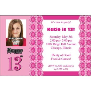13th Birthday Personalized Photo Invitations