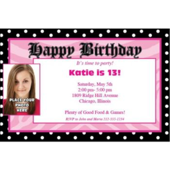 Pink Birthday Dots Photo Personalized Invitations