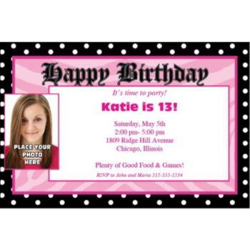 Pink Birthday Dots Photo Personalized Invitations
