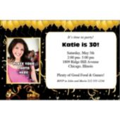 Gold Confetti Balloons Personalized Photo Invitations