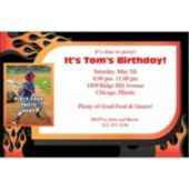 Biker Flames Photo Personalized Invitations