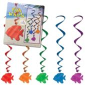 Fish Metallic Swirl Decorations-5 Per Unit