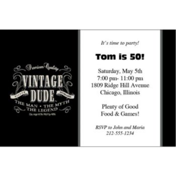 Vintage Dude Personalized Invitations