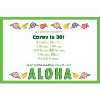 Aloha Hibiscus Personalized Invitations