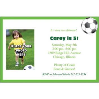 Soccer Theme Photo Personalized Invitations
