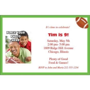 Football Photo Personalized Invitations