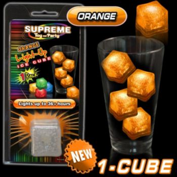 Orange LED Lited Ice Cube - Retail Pack