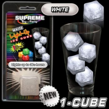 White LED Lited Ice Cube - Retail Pack