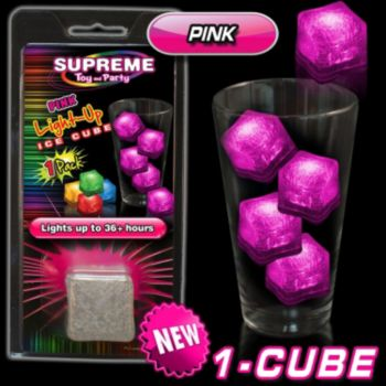 Pink LED Lited Ice Cube - Retail Pack