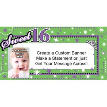 Purple and Green Sweet 16 Custom Photo Banner