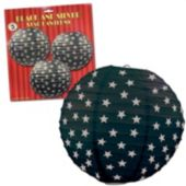 Black & Silver Star Paper Lanterns-3 Pack