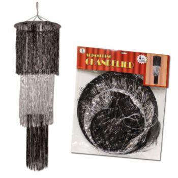 Black & Silver  Fringe Chandelier