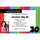 Rainbow Celebration 30 Photo Personalized Invitations