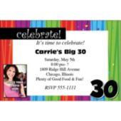 Rainbow Celebration 30 Photo Personalized Invitations