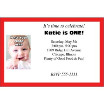 Red Border Photo Logo Personalized Invitations