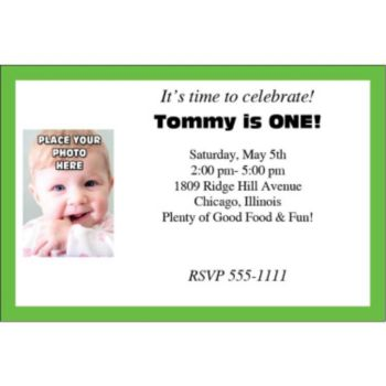 Green Border Photo Logo Personalized Invitations