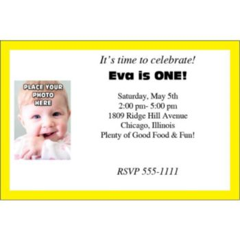 Yellow Border Photo Logo Personalized Invitations