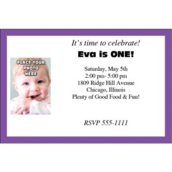 Purple Border Photo Logo Personalized Invitations