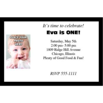 Black Border Photo Logo Personalized Invitations