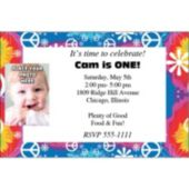 Woodstock Tie Dye Personalized Photo Invitations