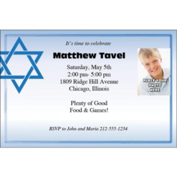 Star of David Blue Photo Personalized Invitations